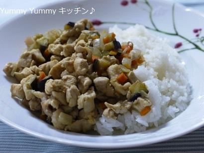 鶏肉と野菜たっぷりのクミン炒めどんぶり♪