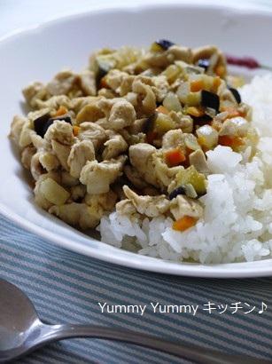 鶏肉と野菜たっぷりのクミン炒めどんぶり☆