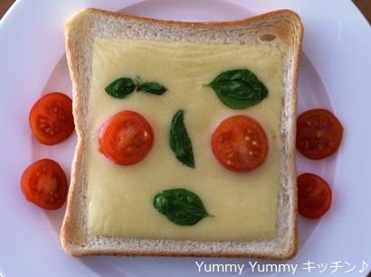 バジルとトマトでお顔♪