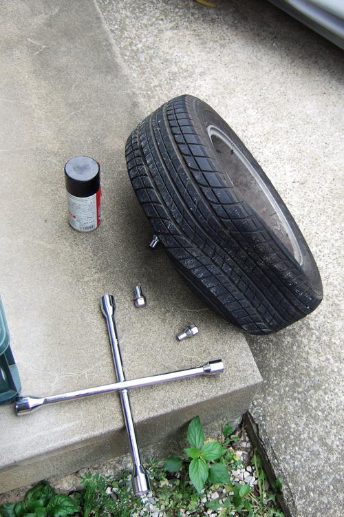 ミニのタイヤがパンク