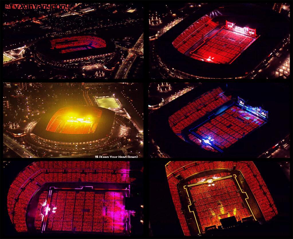 ヘリコプターのカメラで見た東方神起日産スタジアムの驚異的なスケール