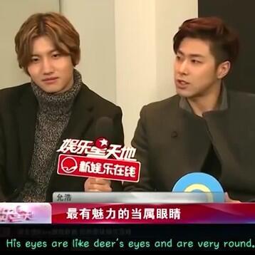 Star Worldより ユノ『チャンミンの目は鹿のようでとっても丸くて魅力的で二重まぶたは長いし女の子みたい。視線があうと目をそらすことはできません。