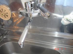 シングルレバー混合栓交換取付