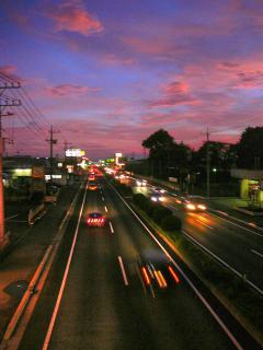 夕暮れの国道 HDR