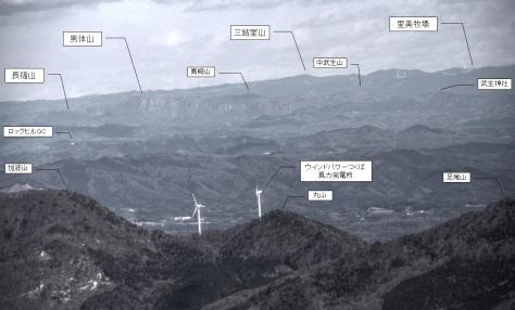 筑波山からの里美牧場(説明図)