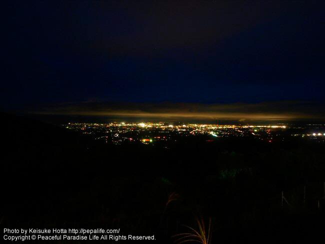 あずま温泉から見た福島市街地の夜景