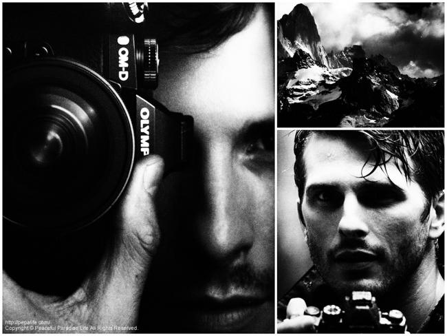 新しいカメラでOM-Dのカタログ写真をモノクローム撮影した写真(おっさん)