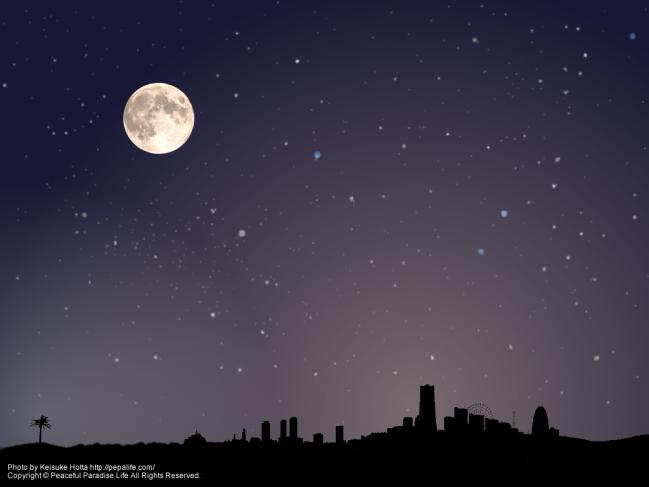 満月の中秋の名月を加工