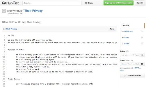 ハッカーがソニーに対し映画公開中止を要求するメッセージを投稿 やはり北朝鮮が関与か?