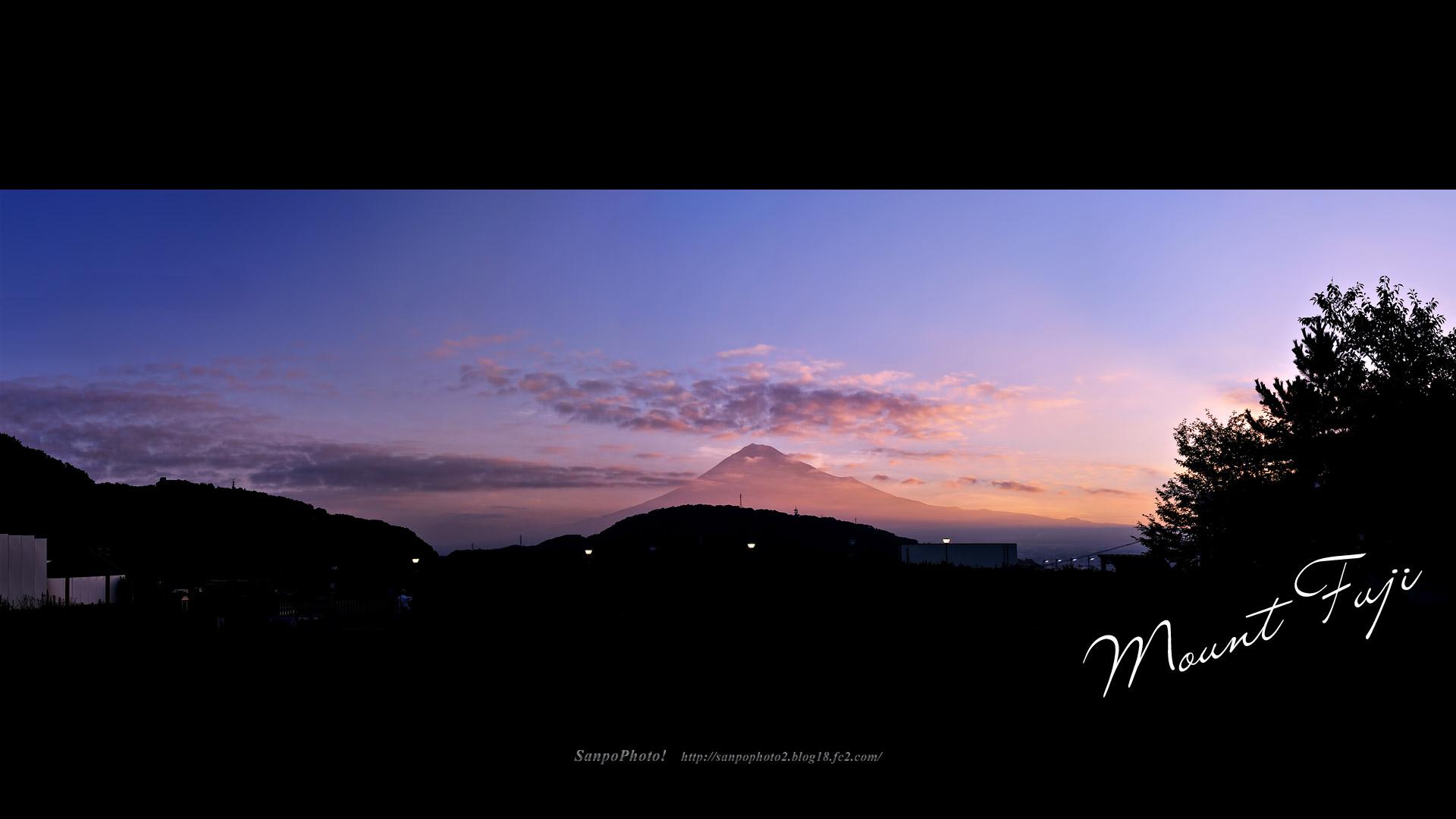 さんぽふぉと Sanpophoto 無料壁紙 朝焼けの富士山 パノラマ
