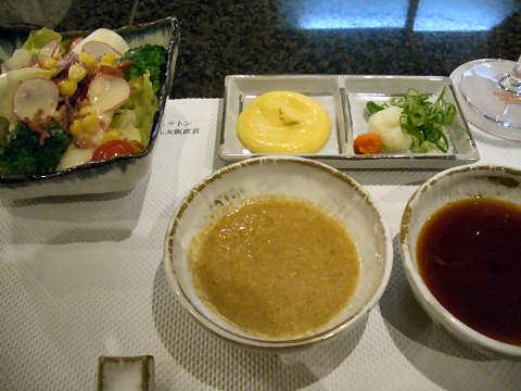サラダとタレ・薬味など@鉄板焼「松阪」