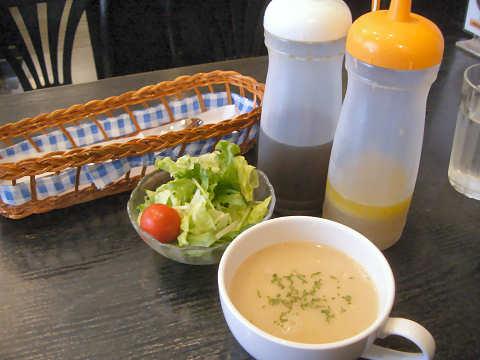 ミニサラダ・カップスープ・ドレッシング@洋食屋マーサン