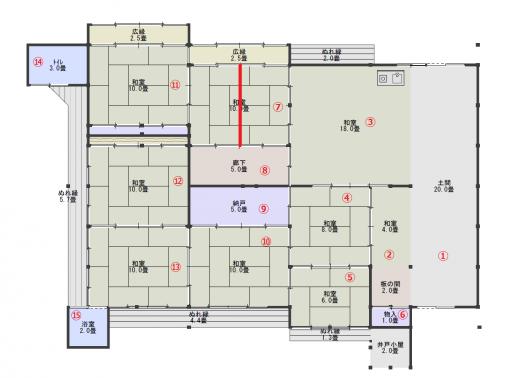 平面図17(現状・番号付き)